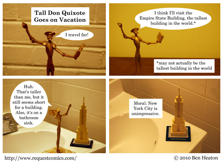Tall Don Quixote Goes on Vacation comic