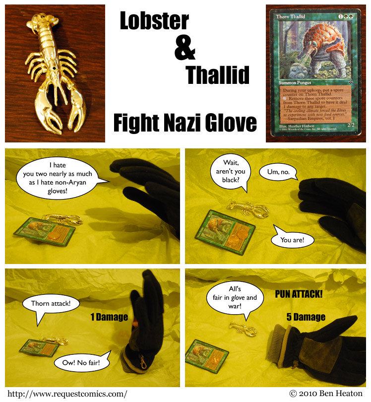 Lobster & Thallid Fight Nazi Glove comic