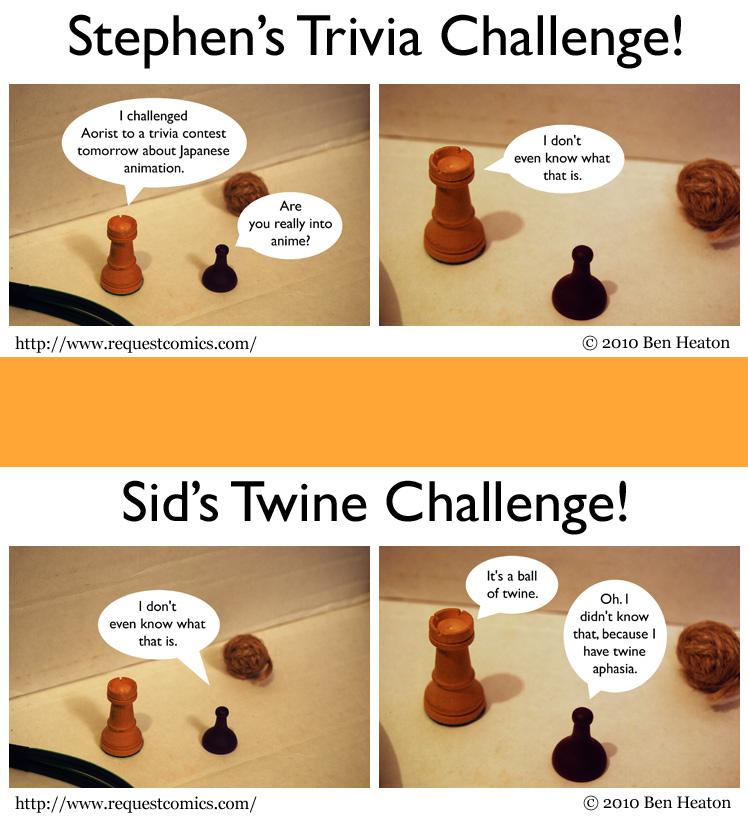 Stephen's Trivia Challenge! / Sid's Twine Challenge! comic