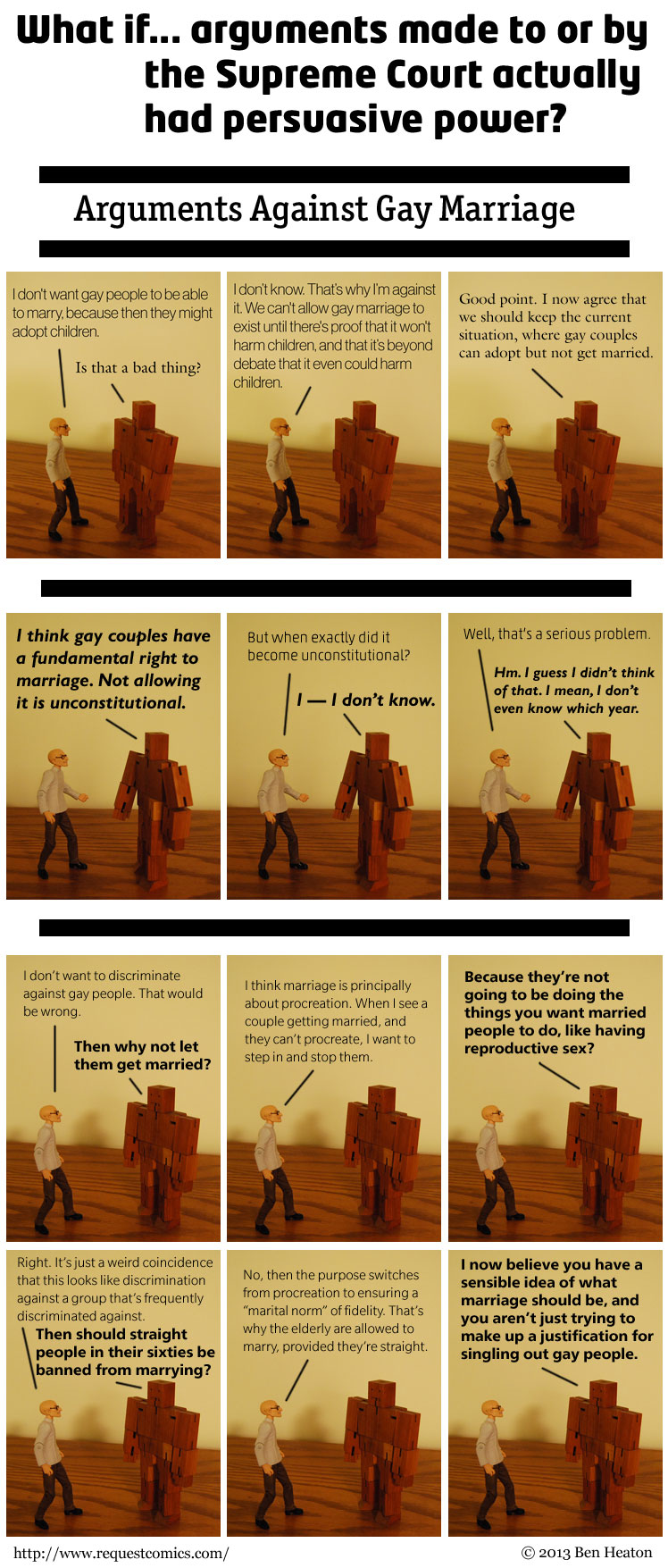 Arguments Against Gay Marriage comic