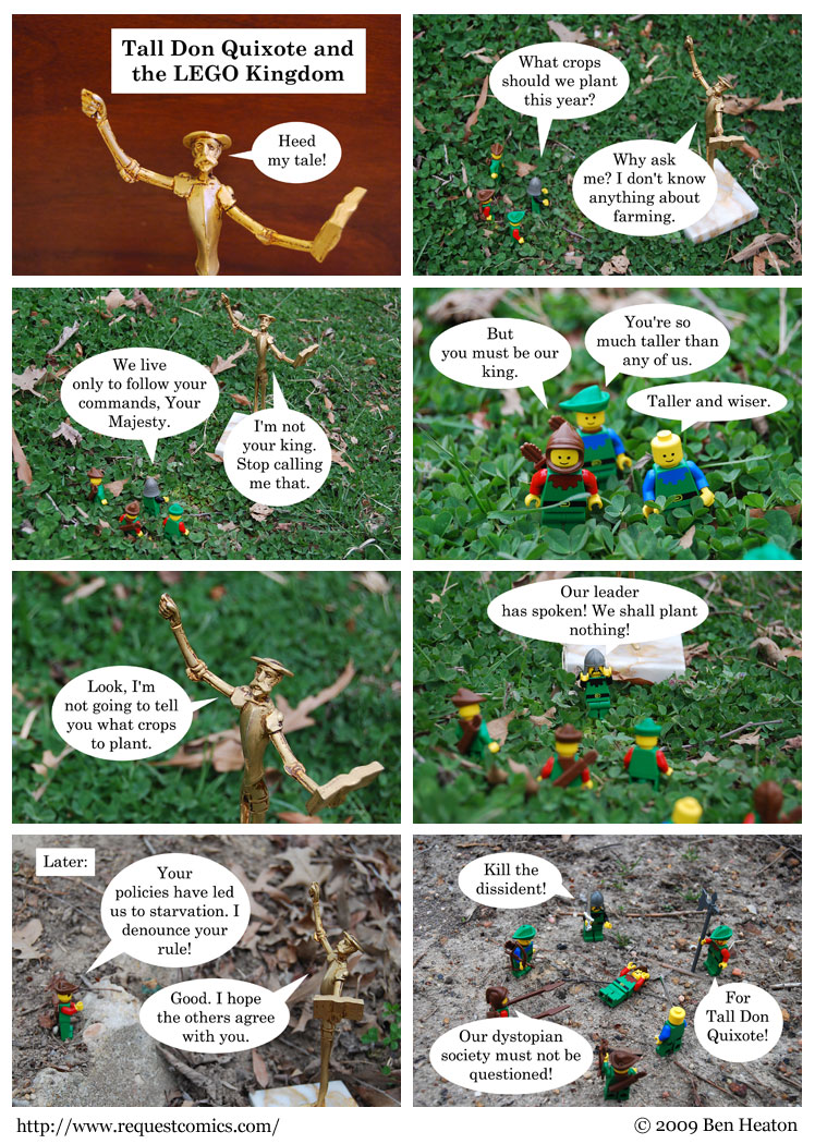 Tall Don Quixote and the LEGO Kingdom comic